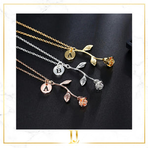 Rose Pendant Letter Necklace - Limitless Jewellery