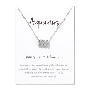 EP TEStBirthday Gifts 12 Constellation Zodiac Pendant Necklace With White Card - Limitless Jewellery