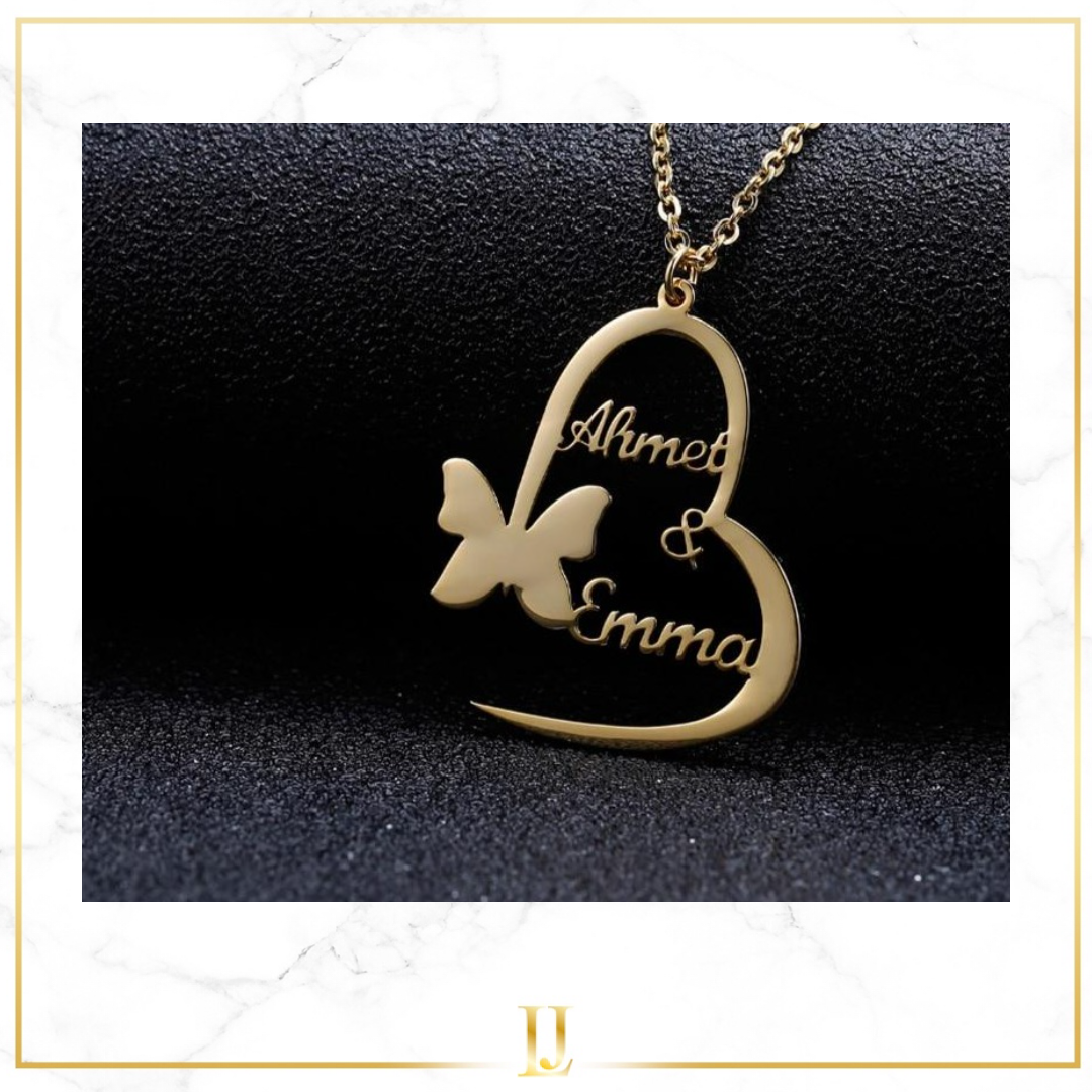 Personalized Double Name Butterfly Necklace