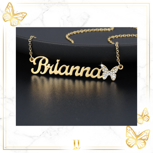 Personalized Iced Out Butterfly Necklace