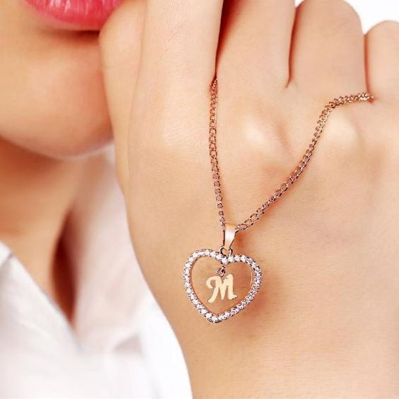 Heart Letter Name Necklace - Limitless Jewellery