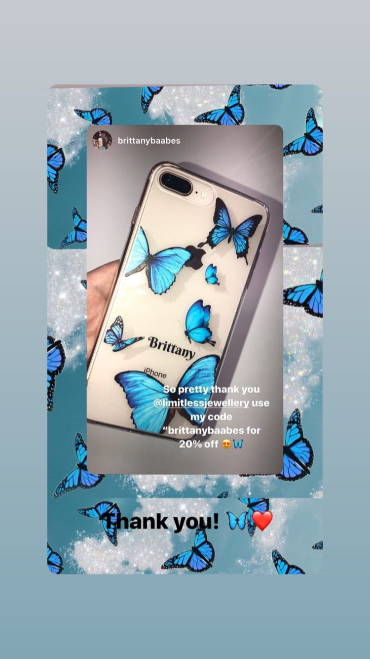 Personalized Transparent Butterfly iPhone Case