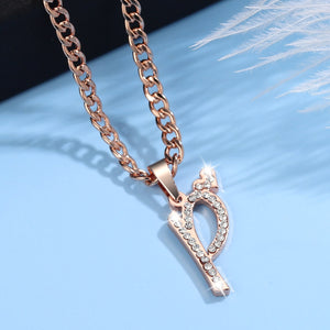 Iced Heart Initial Necklace