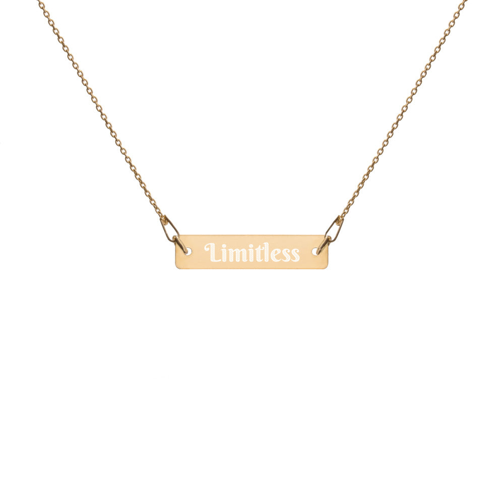 Engraved  Bar Chain Necklace