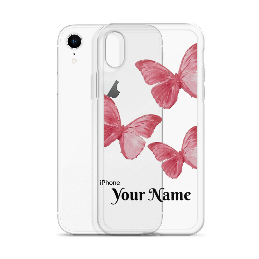 Personalized Pink Butterfly iPhone Case