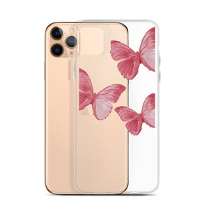 Transparent Pink Butterfly iPhone Case