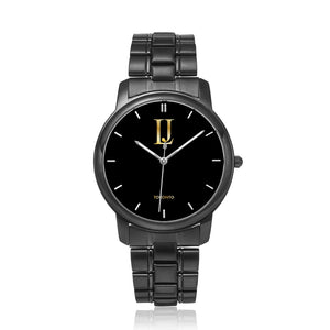 black logo stainless watch