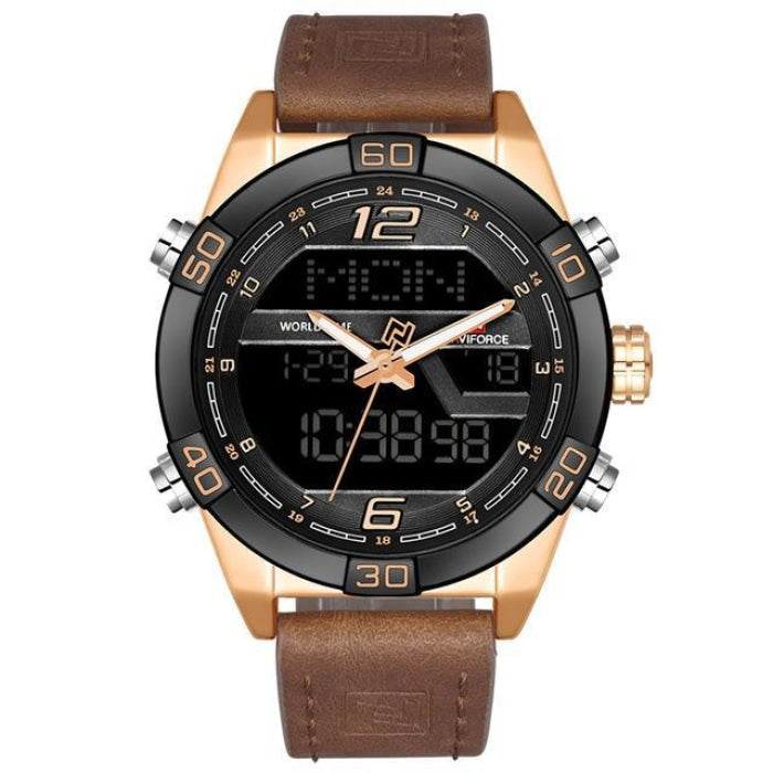 Prequal Gold Brown Mens Watches