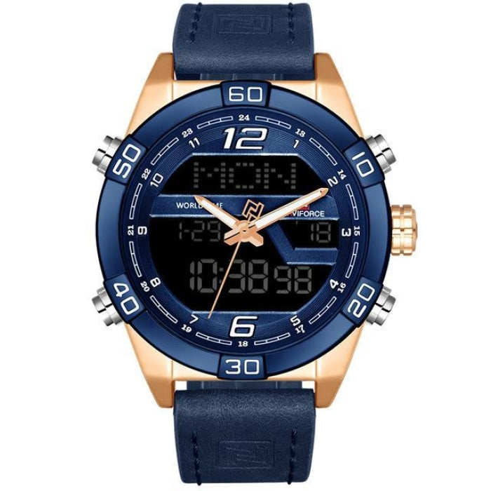 Prequal Gold Bule Mens Watches
