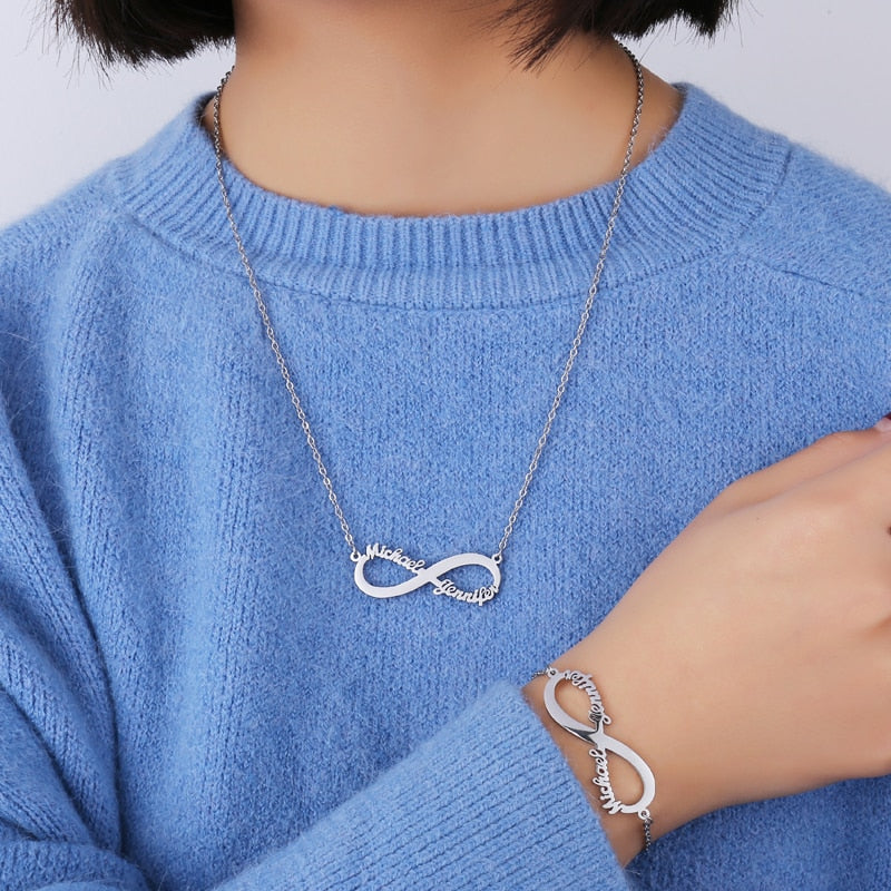 Personalized Heart Infinity Necklace - Limitless Jewellery