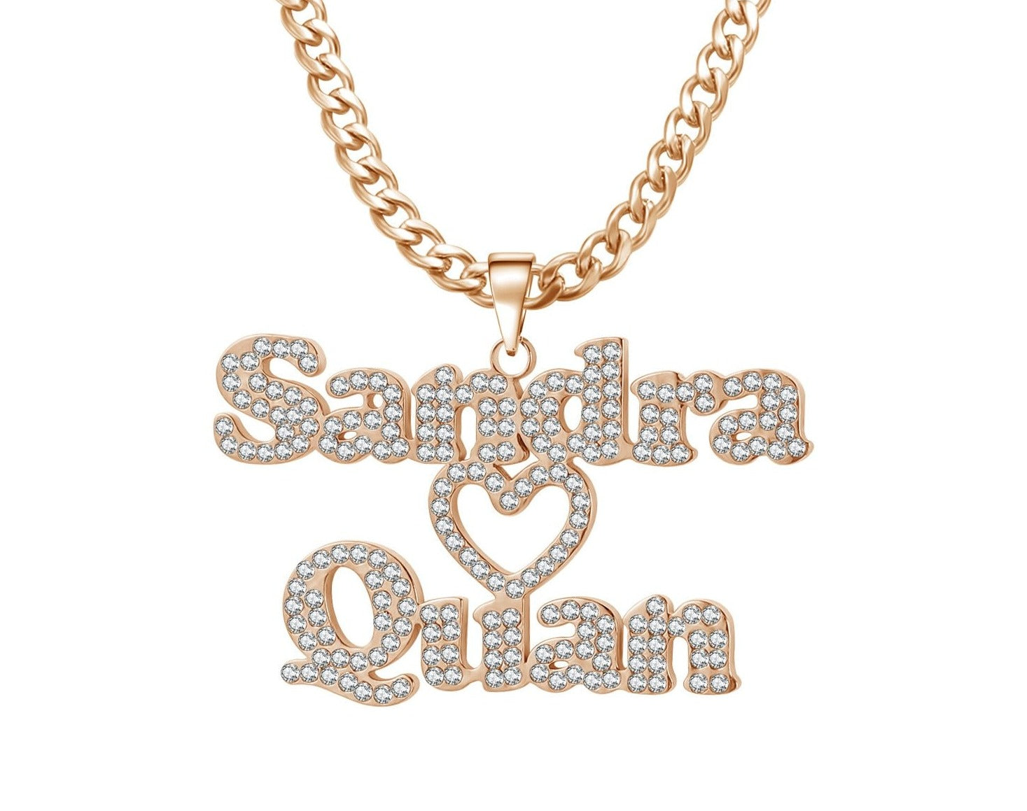 Personalized Iced Out Double Name Necklace - Limitless Jewellery