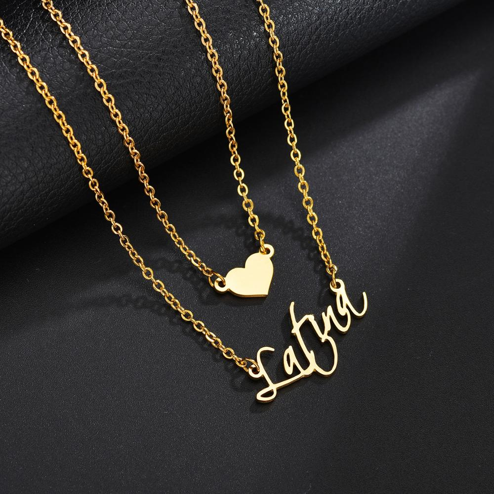 Personalized Double Layered Heart Necklace - Limitless Jewellery