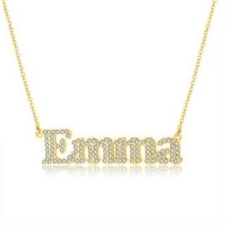 Personalized Iced Out Block Necklace - Limitless Jewellery