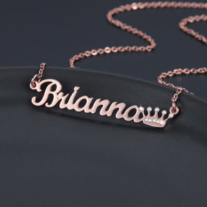 Personalized Iced Out Crown Necklace
