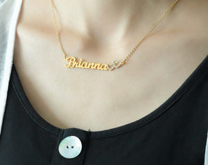 Personalized Iced Double Heart Necklace