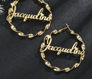 Persoanlized Twist Hoop Earrings