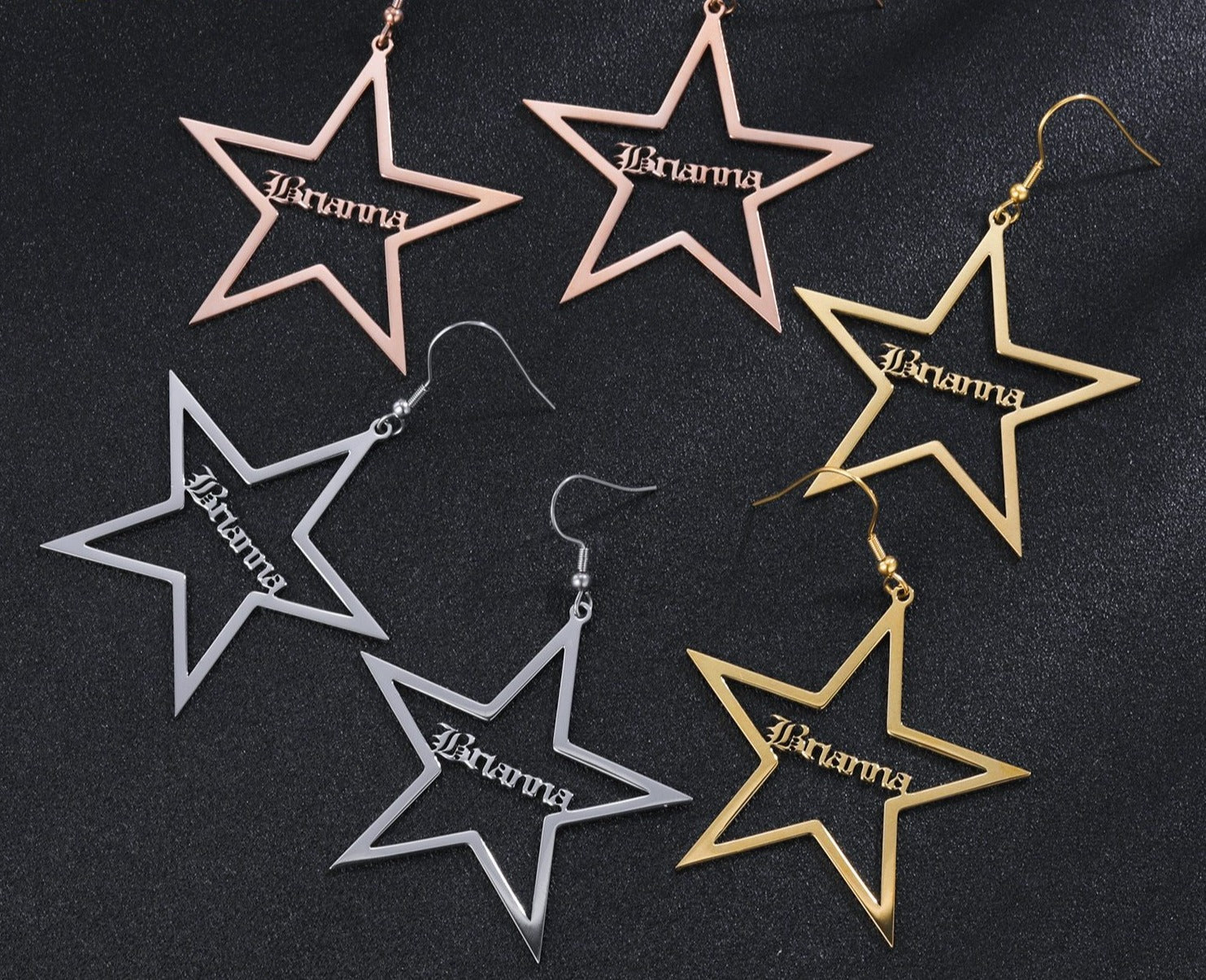 Personalized Star Name Earrings