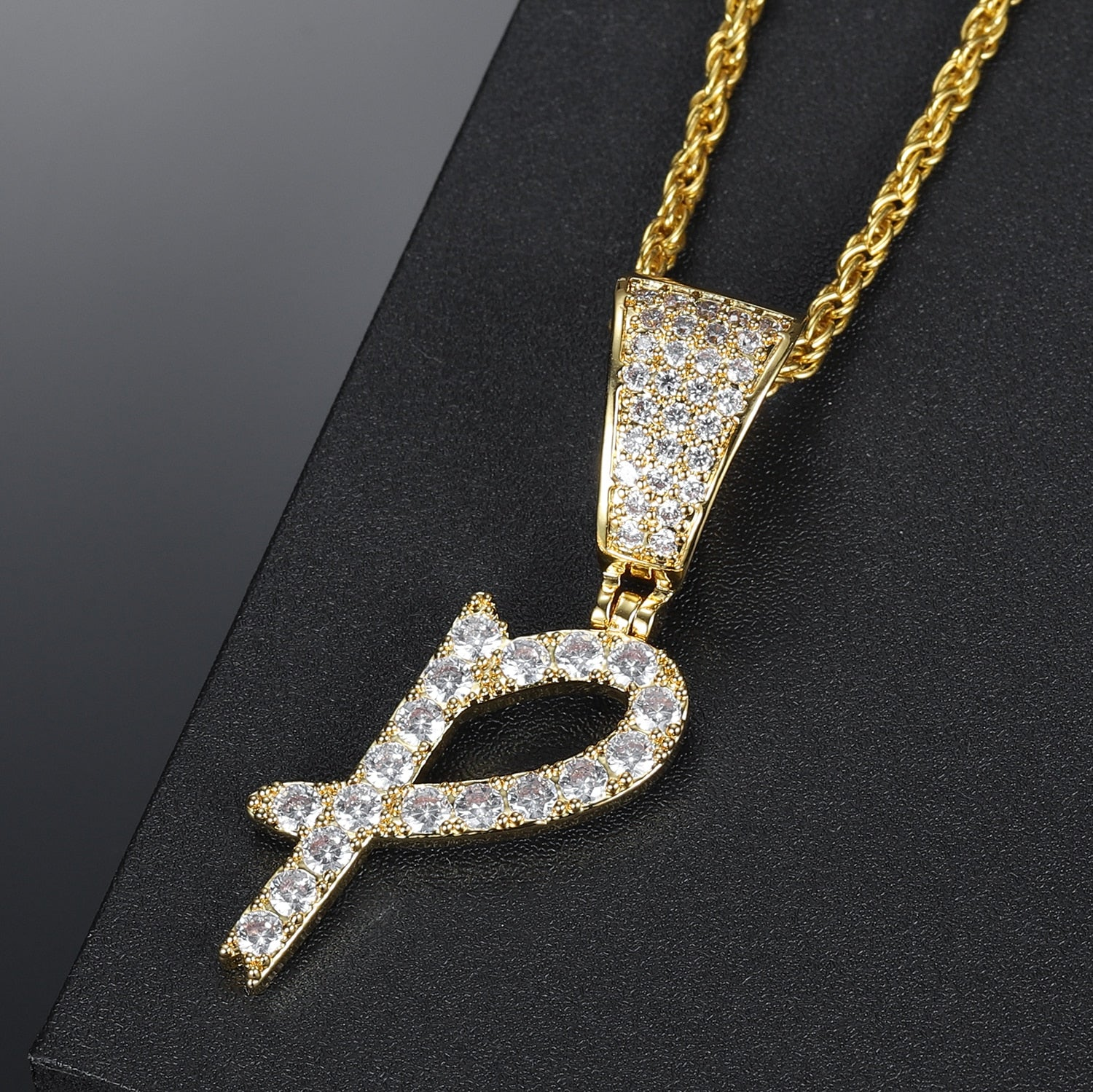 Iced A-Z Initial Necklace