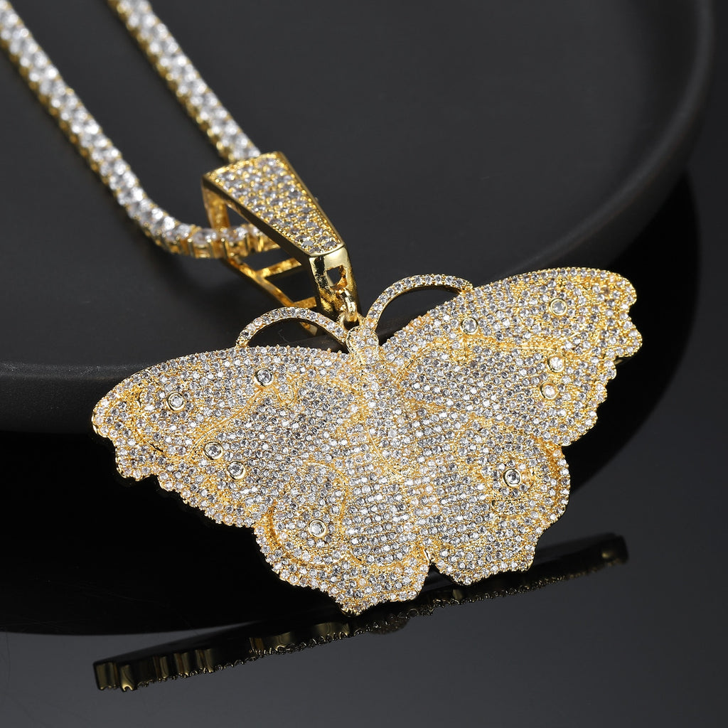 Personalized Blinged Butterfly Pendant Necklace