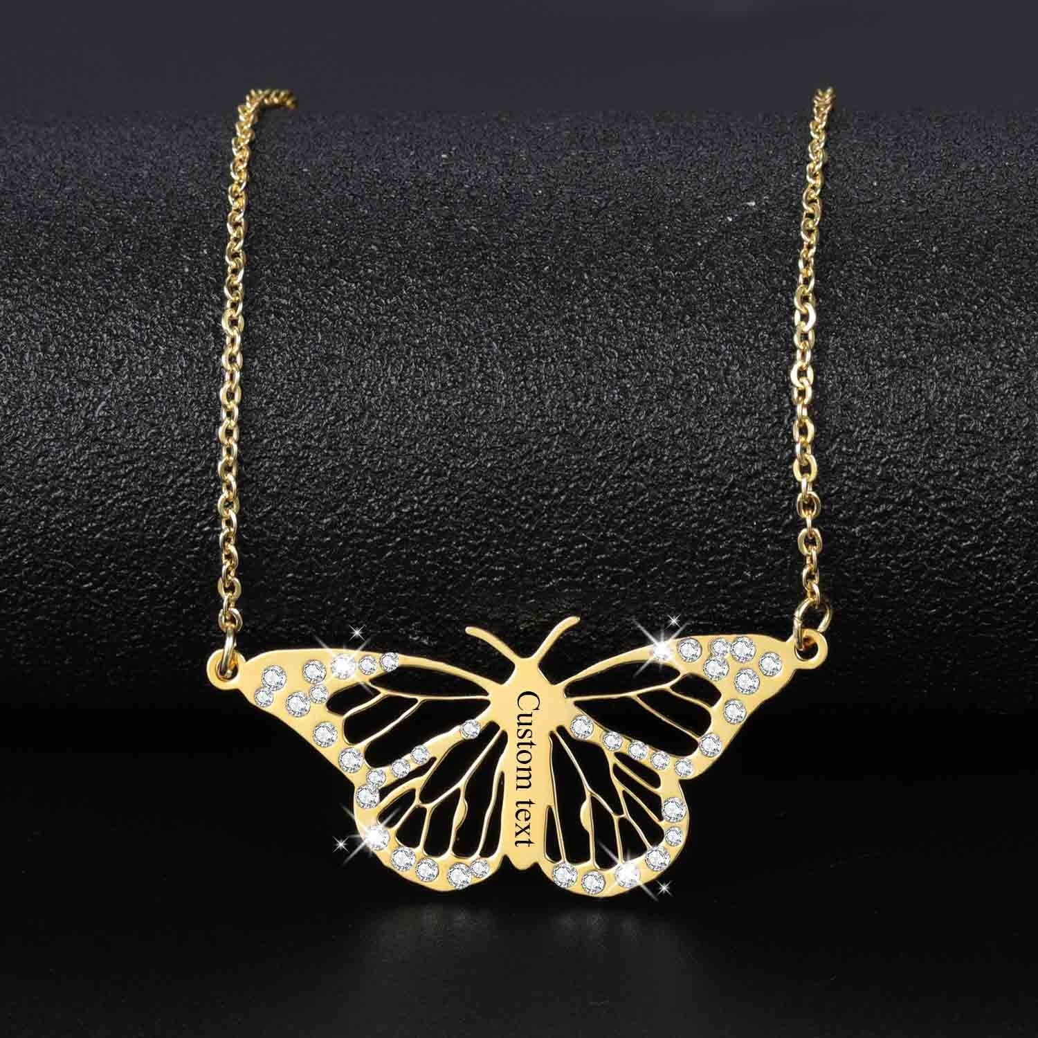 Personalized Blinged Butterfly Necklace