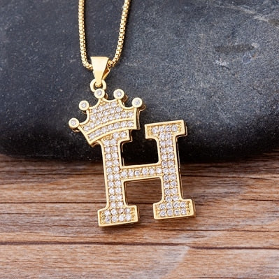 Crown Initial Necklace