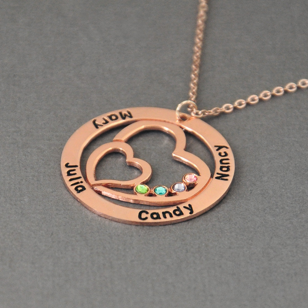 Personalized Name Necklace with Birthston in Cricle,Gift for Women - Limitless Jewellery