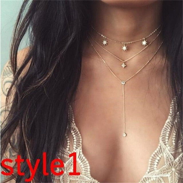 Multilayer Crystal Moon Necklaces - Limitless Jewellery