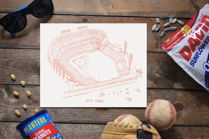 AT&T Park, Home of the San Francisco Giants, Stipple Art Print