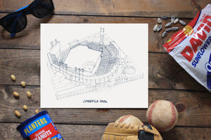Comerica Park, Home of the Detroit Tigers, Stipple Art Print