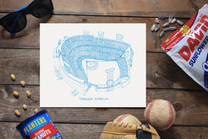 Dodger Stadium, Home of the Los Angeles Dodgers, Stipple Art Print
