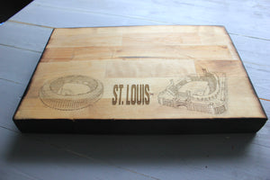 Busch Stadium, Home of the St Louis Cardinals, Butcher Block Cutting Board