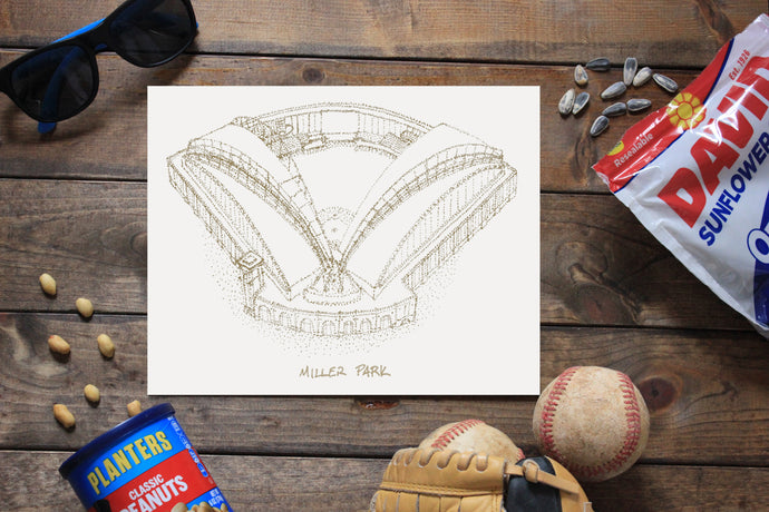 Miller Park, Home of the Milwaukee Brewers, Stipple Art Print