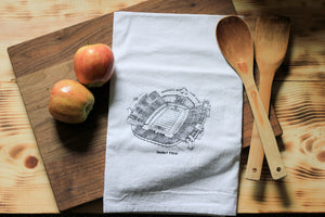 Faurot Field, Home of the Missouri Tigers, Stipple Art Tea Towel