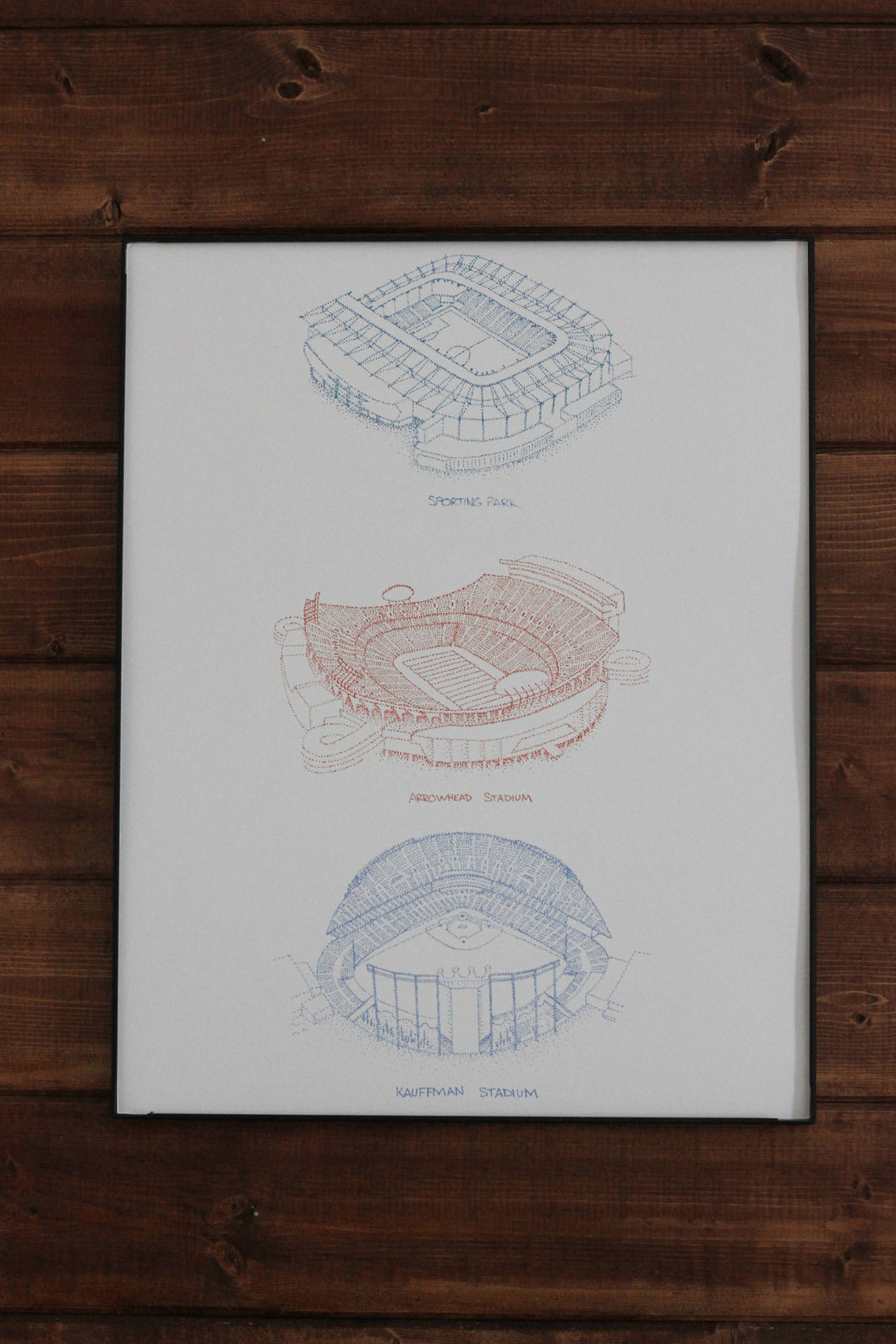 3 in 1: Kauffman Stadium, Arrowhead Stadium, Childrens Mercy Park - Kansas City Sports Stadiums Stipple Art Print