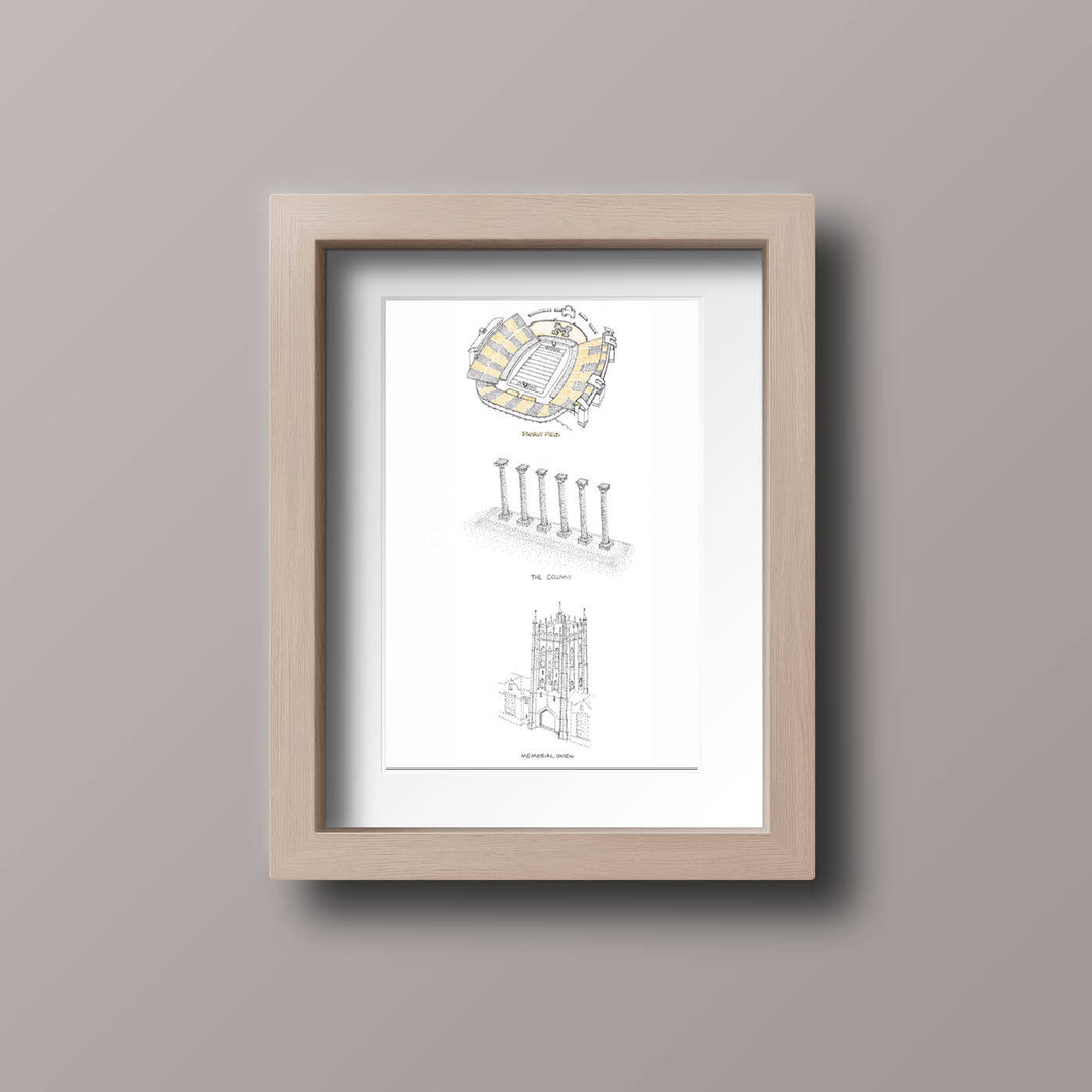 3 in 1: Columns, Faurot Field, & Memorial Union - University of Missouri Landmarks Stipple Art Print
