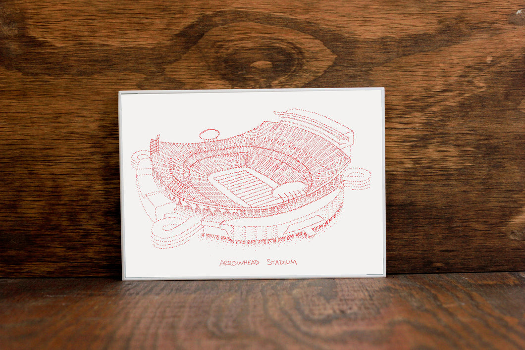 Arrowhead Stadium, Home of the Kansas City Chiefs, Stipple Art Print