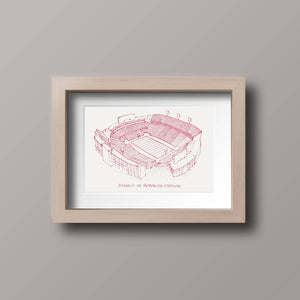 Donald W Reynolds Stadium - Arkansas Razorbacks - Stipple Drawing - Football Art - Arkansas Razorbacks Art - Arkansas Razorbacks Print