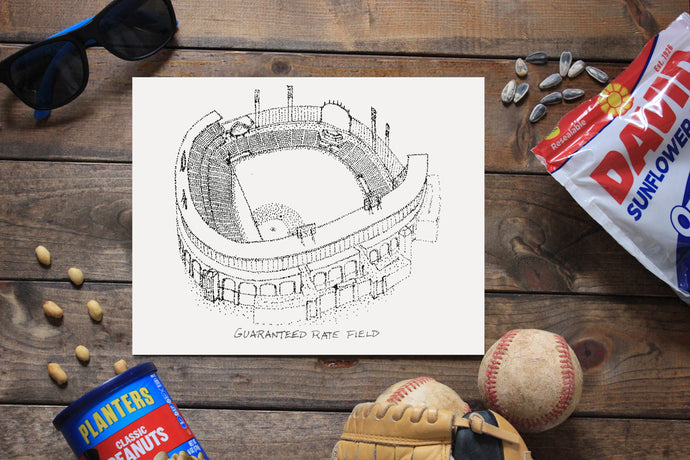 Guaranteed Rate Field - US Cellular Field - Chicago White Sox - Stipple Art Print  - Baseball Art - Chicago White Sox Art