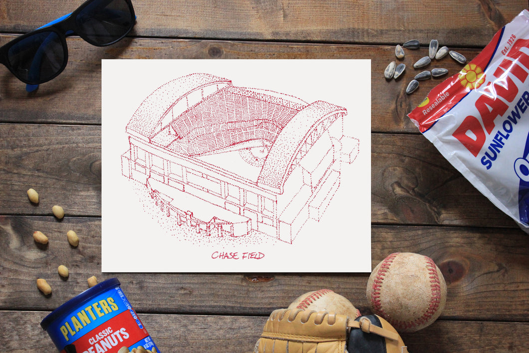 Chase Field - Arizona Diamondbacks - Stipple Art Print - Baseball Art - Arizona Diamondbacks Art - Arizona Diamondbacks Print