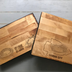 NHL Team of Your Choice - Hockey Butcher Block Cutting Board- Stipple Art - New York Islanders - Chicago Blackhawks - Philadelphia Flyers