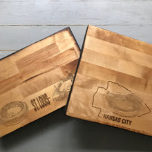 MLB Team of Your Choice - Baseball Butcher Block Cutting Board - Stipple Art - Cardinals - Yankees - Braves