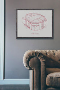 United Center - Chicago Bulls - Stipple Art Print - Basketball Art - Chicago Bulls Art - Chicago Bulls Print