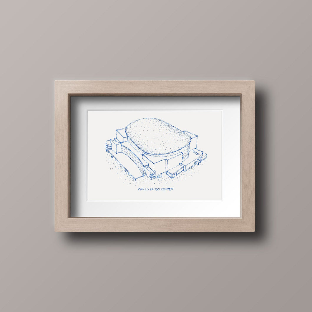 Wells Fargo Center - Philadelphia 76ers - Stipple Art Print - Basketball Art - Philadelphia 76ers Art - Philadelphia 76ers Print