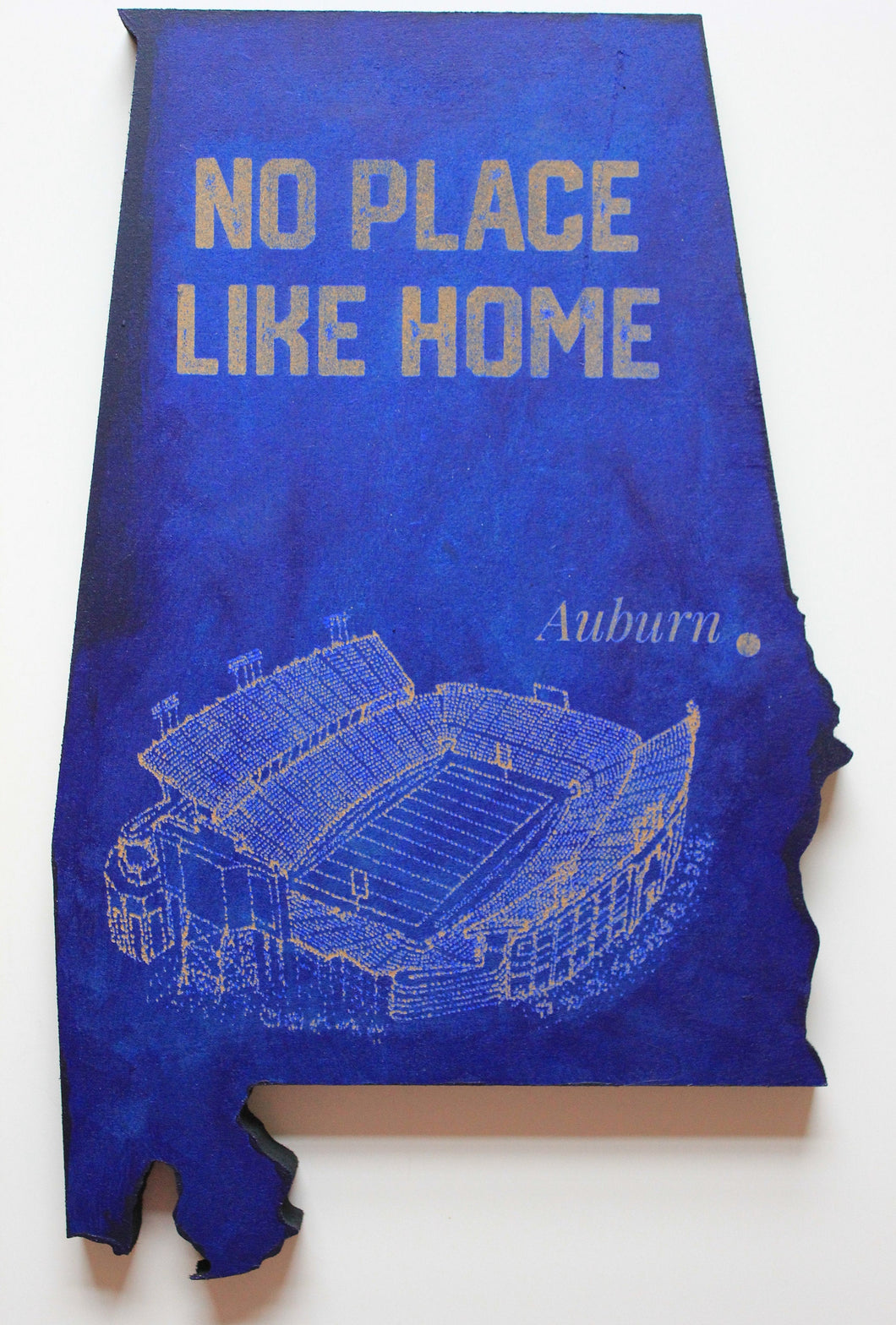 State of Alabama Wooden Cut Out Featuring Jordan-Hare Stadium, home of the Auburn Tigers