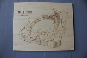 Wood Art - Busch Stadium - St Louis Cardinals - Stipple Drawing - Gallery Wall - Wall Decor - St Louis Cardinals Art