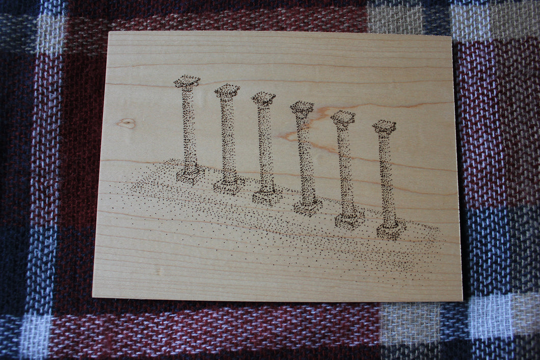 Mizzou Architecture Series: The Columns Wood Art - Missouri Tigers - MIZZOU - Stipple Drawing - Gallery Wall - Wall Decor