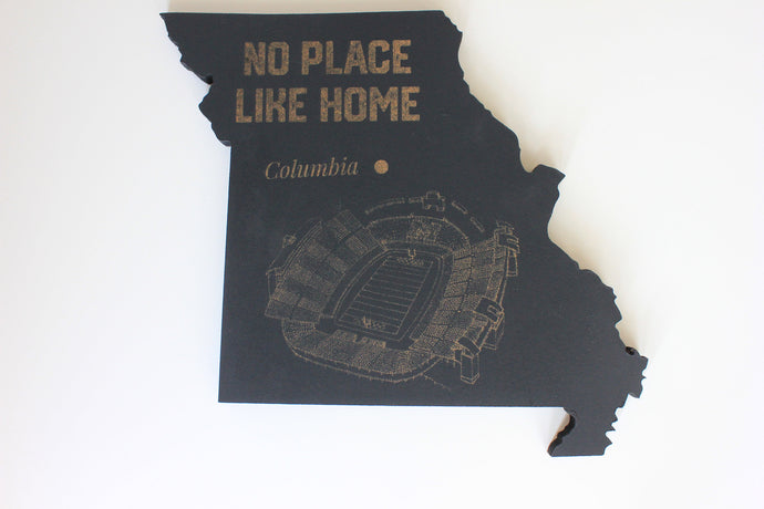 State of Missouri Wooden Cut Out Featuring Faurot Field, home of the Missouri Tigers