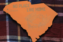 State of South Carolina Wooden Cut Out Featuring Memorial Stadium, home of the Clemson Tigers