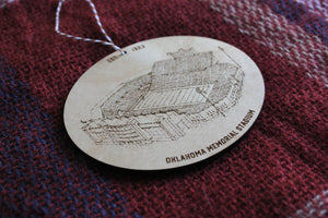 Gaylord Family Oklahoma Memorial Stadium, Home of Oklahoma Football, Stipple Art Wood Ornament