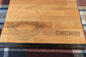 Wrigley Field, Home of the Chicago Baseball, Butcher Block Cutting Board